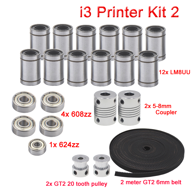 3D Drucker Reprap I3 Bewegung Kit GT2 Gürtel Pulley 608zz 624zz Kugellager LM8UU Linear Lager 5x8 Koppler welle