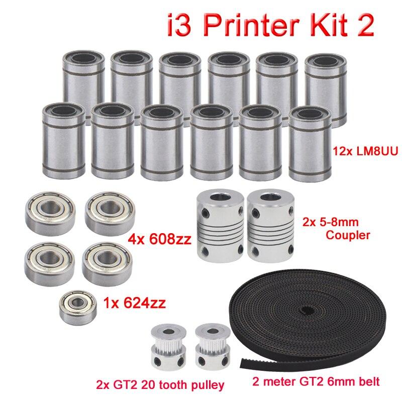 3D Reprap impresora I3 movimiento Kit de GT2 polea de correa 608zz 624zz rodamiento LM8UU rodamiento lineal 5x8 acoplador del eje