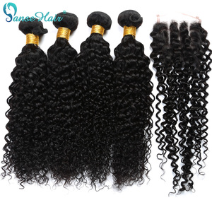 Panse Hair Indian Kinky Curly Human Hair Weaving Customized 8-28 Inches Hair 4 Bundles Hair Weft With Closure 4X4 Non-Remy