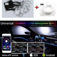 New Sound Active EL Neon Wire Strip Light RGB LED Car Interior Light Multicolor Bluetooth Phone