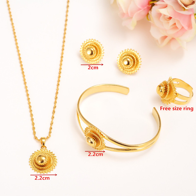 Bangrui 2017 Newest Gold Jewelry Sets Earrings Pendant Ring Traditional African bridal Habesha Women Party African Nice Gift