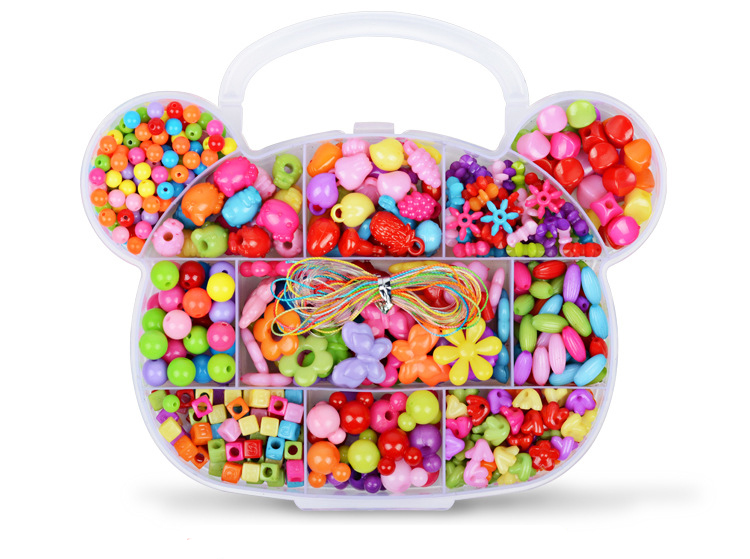 Children DIY Plastic Acrylic Bead Kit Girl Toys DIY Beaded Handmade Bracelet Amblyopia Training Color Puzzle Early Education Toy (4)