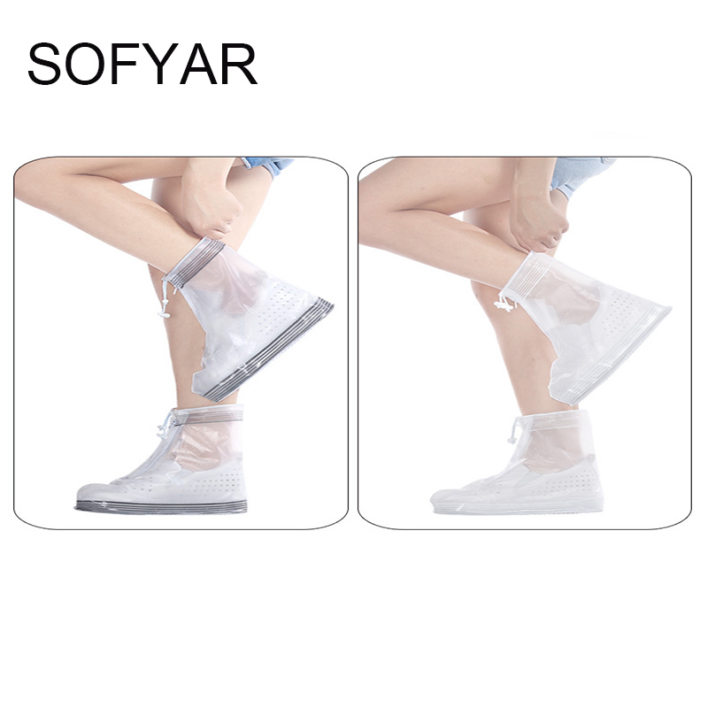 Men women stripe shoe covers waterproof rain covers more slippery wear-resisting outdoor rain boots zipper easy wear shoes cover