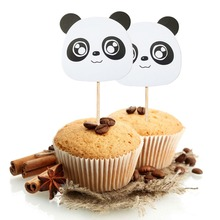 6 шт. в форме панды, бумажный Топпер, детский торт на день рождения, DIY, флаг, десерт из кекса, вставная карта, Детская душевая игрушка для украшения дня рождения