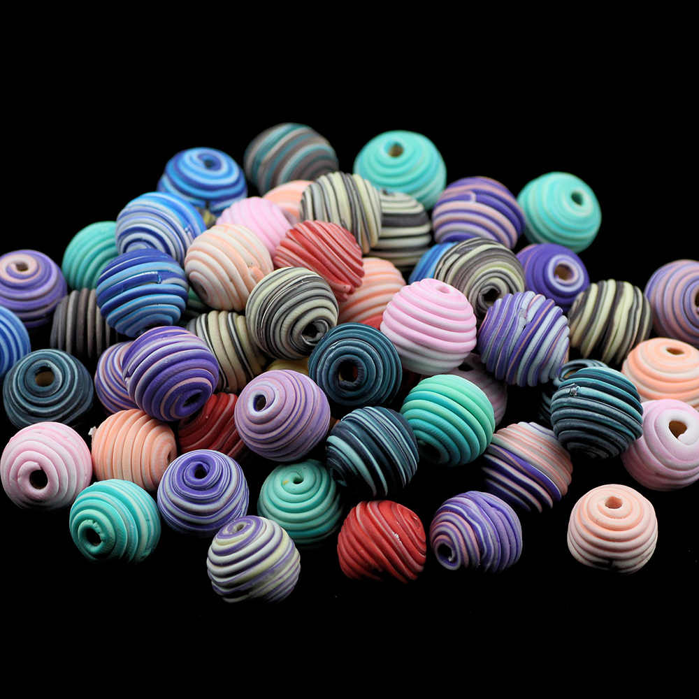 BTFBES 10Pcs/lot 15mm Fimo Polymer Clay Beads Random Spiral Pattern Round Loose Beads Mix Color Ball For Jewelry bracelet Making