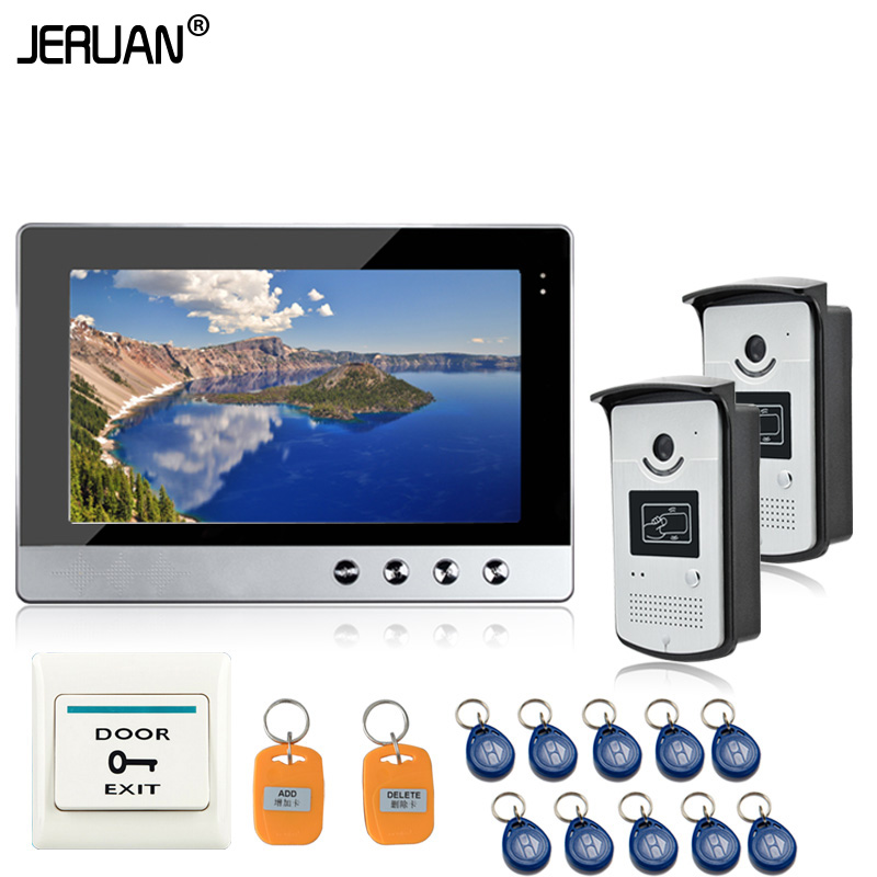 JERUAN  New 10 inch Color Video Door Phone Intercom Doorbell System 1 Monitor 2 Waterproof  RFID Access Camera In Stock  jeruan new 7 inch touch key color video intercom entry door phone system rfid access doorbell camera 1 monitor in stock