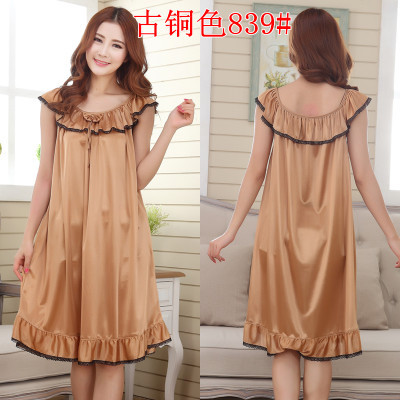 2018 Womens Summer Loose Long Sleepwear Plus Size Ladies Sexy Satin Lace Nightdress Girls Robe Ruffle Sleepshirts Nightgowns 4
