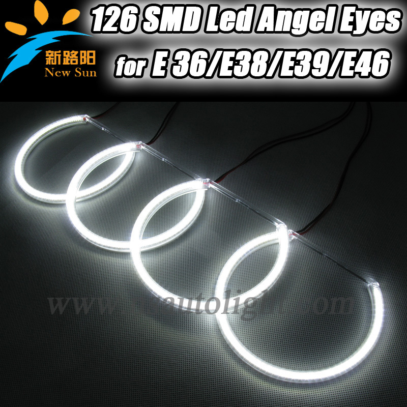 Free shipping 8000K Pure white 3014 smd led angel eye for BMW E36 E38 E39 E 46 with projector angel eyes lighting halo ring kits