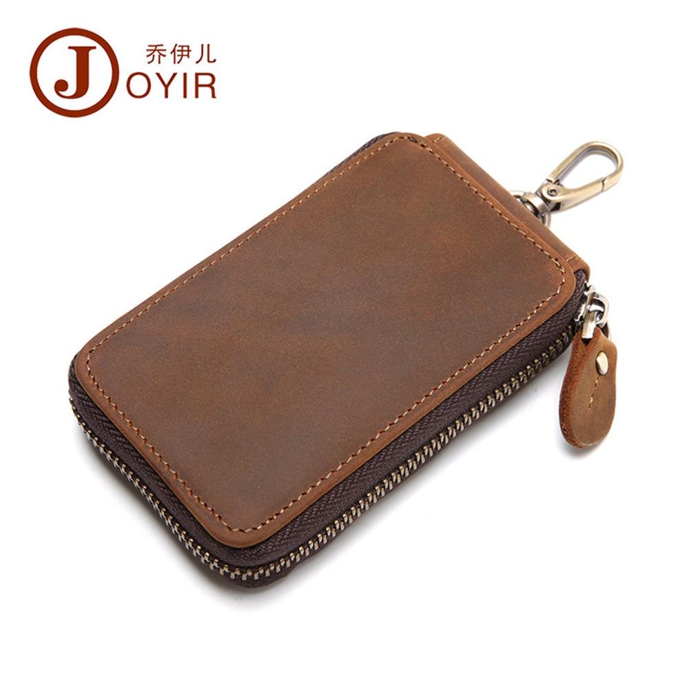 JOYIR Vintage Genuine Leather car key walle leisure man Keychain Covers Zipper Key Bag Key Holder Housekeeper Keys Organizer