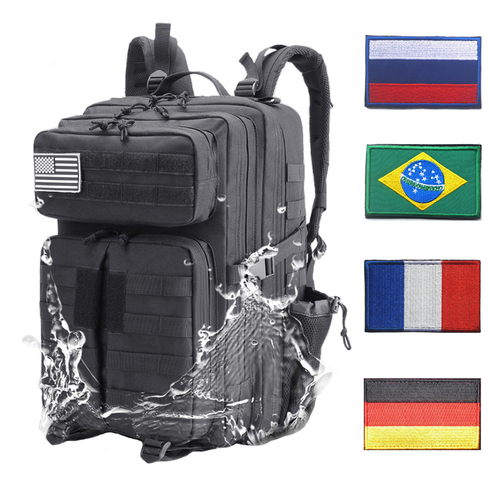 Tactical Backpacks Outdoor Backpack Military Assault Army Molle Rucksack with Flag Patches Women Men Waterproof Sports