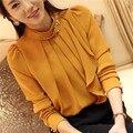 2016 Marca de Moda de Nova Manga Comprida Chiffon Mulheres Blusa Fique Neck Com Diamantes Sólidos Blusas Femininas Plus Size Tops Casuais
