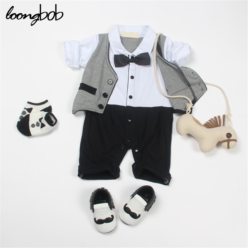 spring autumn baby romper bebe infant jumpsuit boys long sleeve Gentleman style clothes suit roupas de bebe Newborn Costume