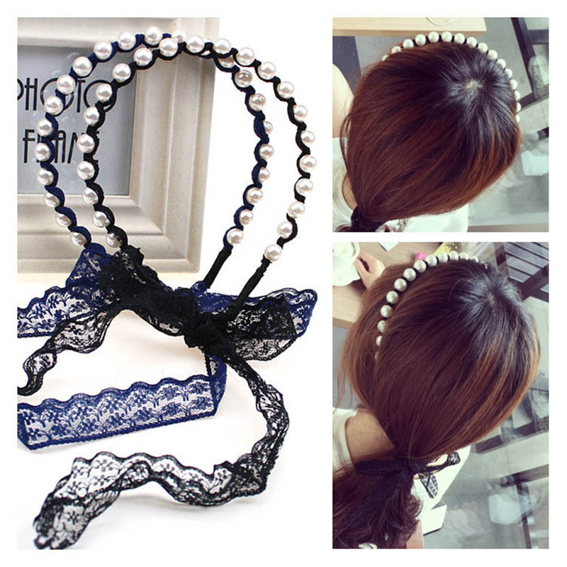 2017 New 1PC Lace Flower Headband Cloth Bow Pearls Hair Bands Children Girls Hair Accessories for Women Princess Gift Jewerly