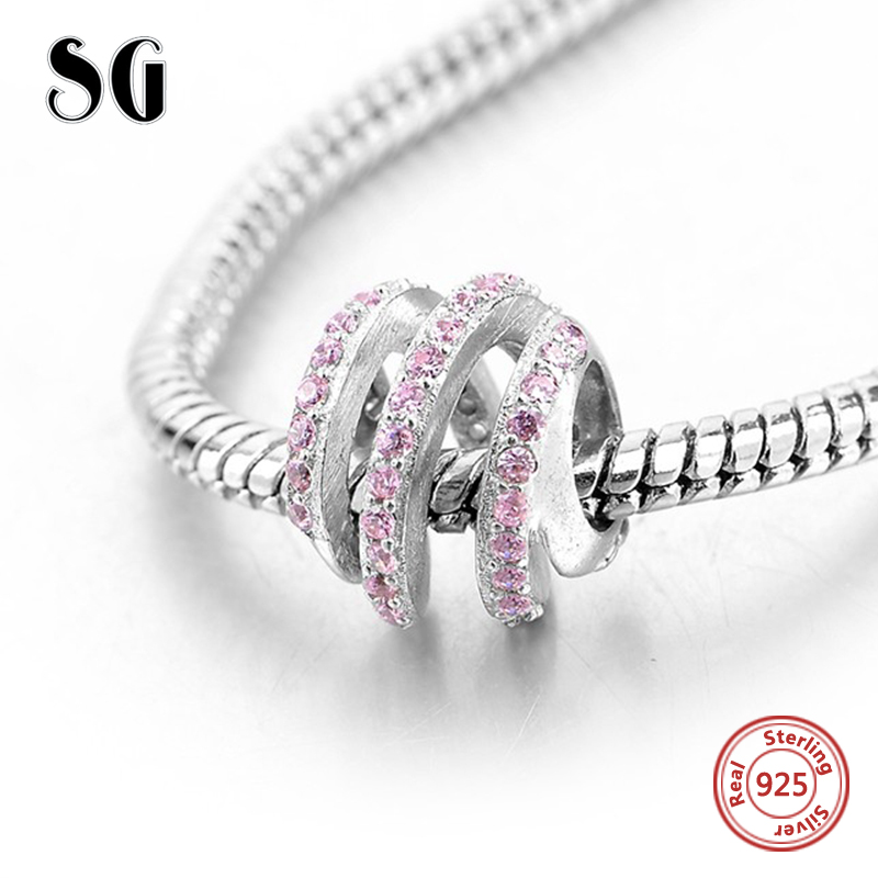 Fit authentic pandora Bracelets Silver 925 charms Beads with pink CZ stone Original diy fashion Jewelry Making for women Gifts in Beads from Jewelry Accessories
