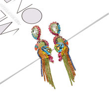 ZA Hot Sell Bird-Shaped Long Earrings Drop Jewelry Fully Studded With Crystal Tassel Dangle Accessories Pendientes For Women(China)