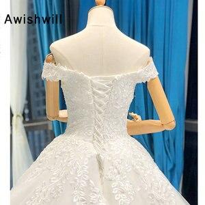 Image 5 - Vestido de Noiva 2020 Princess Wedding Dresses Off Shoulder Applique Lace Ball Gown Bridal Dress Plus Size Robe De Mariee