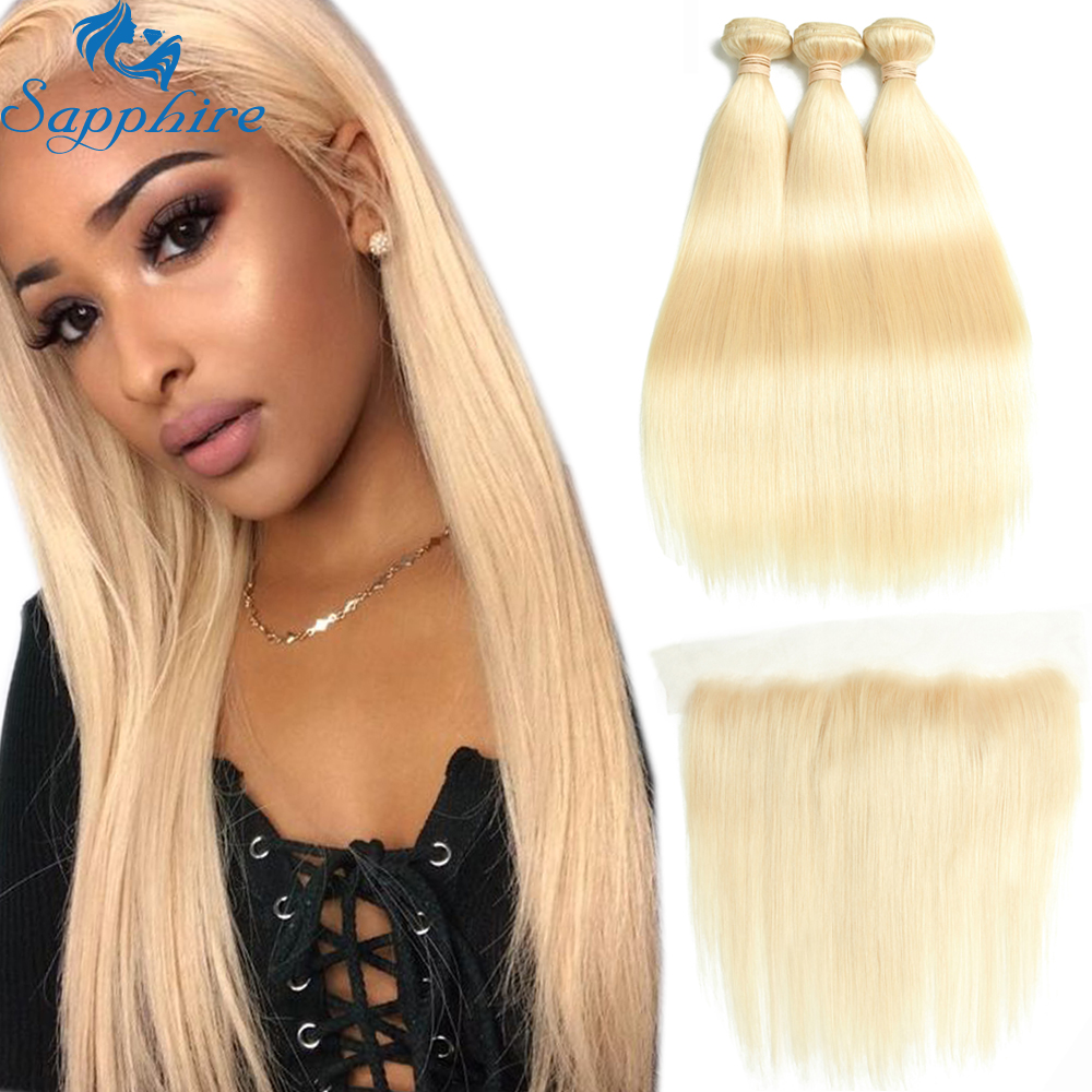 Sapphire Brazilian Hair Weave 613 Bundles With Frontal Brazilian Straight Hair Blonde Bundles With Closure Human