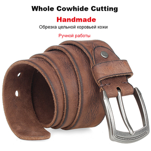 Image 3 - Natural cowhide belt for mens hard metal buckle soft original cowhide mens leather belt unique texture real leather jeans belt