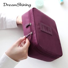 Dreamshining Waterproof Nylon Zipper Portable Travel Cosmetic Organizer Bag Versatility Wash Bags For Man Storage Bags Women
