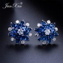 JUNXIN Female Snowflake Stud Earring Real 925 Sterling Silver Jewelry 2018 High Quality AAA Zircon Double Earrings For Women