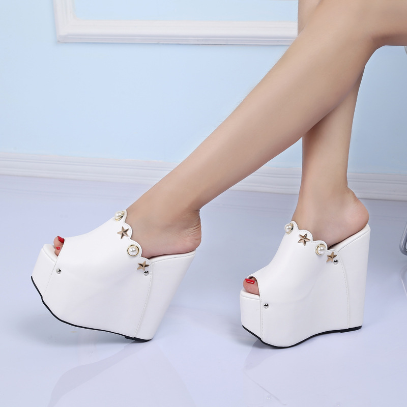 POADISFOO Home Model Show Slope With High Heels Slippers New Fashion Drill 16CM With Heels Ladies Shoes .ZYW-999-1