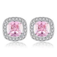 Sliver AAA Cubic Zirconia Sun Flowers Square Stud Earrings For Women Luxury Bride Party Jewelry Gifts Geometric Earrings цена