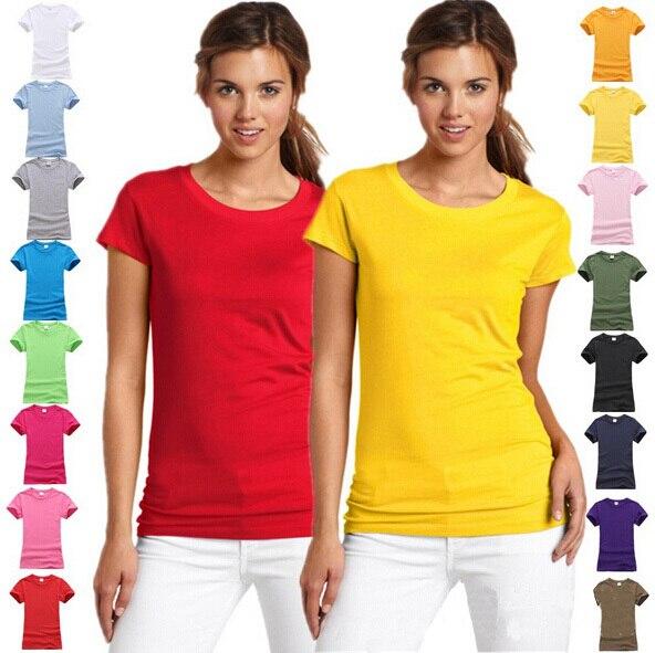 Бесплатная доставка летние дамы хлопок с коротким рукавом - сплошной цвет рубашки девушки женщины футболка вершины тис для женщин G109