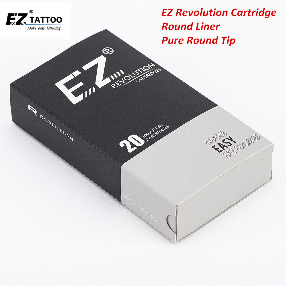 EZ Revolution Cartridge Needles Round Liner Tattoo Needles With Pure Round Tips For Cartridge Machine Grips 20 Pcs/Box