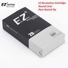 EZ Revolution Cartridge Needles Round Liner Tattoo with Pure Tips for Machine Grips 20 pcs/Box