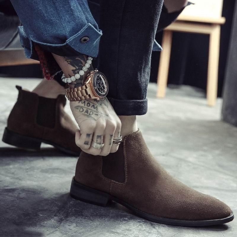 ERRFC Britischen Mode Männer Chelsea Stiefel Sewing Slip Auf Nubuk Trend Mann Stiefeletten Schwarz Luxus High Top Casual Schuhe 38 44-in Chelsea Boots aus Schuhe bei  Gruppe 1