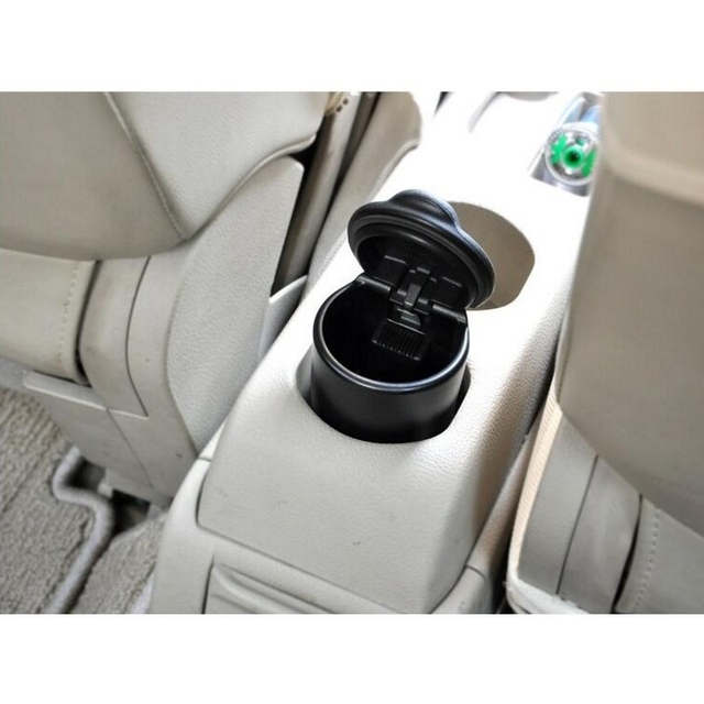 New Portable Car Auto Ashtray Blue LED Light Smokeless Ashtray Cigarette Holder Anti-slip Rubber Botton