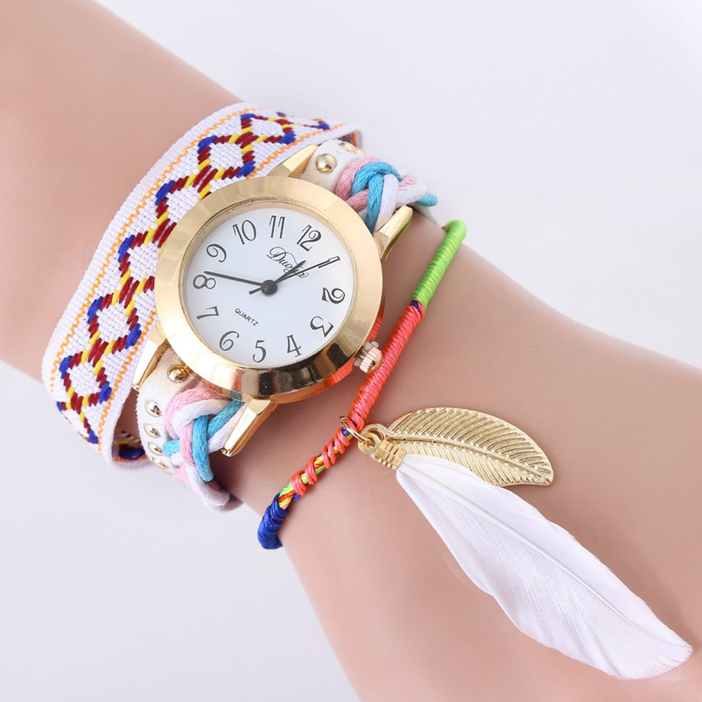 Ethnic Wind Feather Golden Leaf Hanging Hand Chain Watch Lady Quartz Watch Fashion Leather Women Casual Wrist Watch HOT SALE