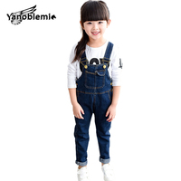 Baby Denim Overalls Spring Autumn Button Girls Jumpsuit Cotton Mid Waist Solid Trousers Boys Straight Casual Overalls 12M-12Year