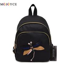 Handmade Dragonfly Embroidery Women Backpack Fashion Designer Shoulder Nylon Travel Back Pack Mochila Feminina