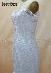 Image 4 - Кружевное свадебное платье с юбкой годе, без рукавов, со шлейфом