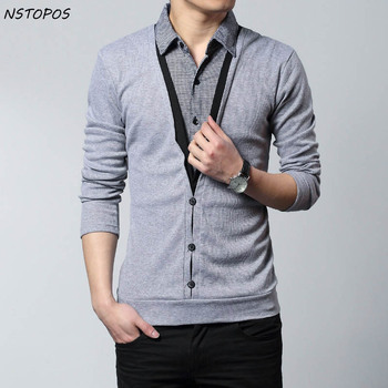 Fake 2 Pieces Long Sleeve Men Polo Shirt Plus Size 4xl 5xl Black Grey Turn Down Collar Slim Fit Cotton Casual Shirt
