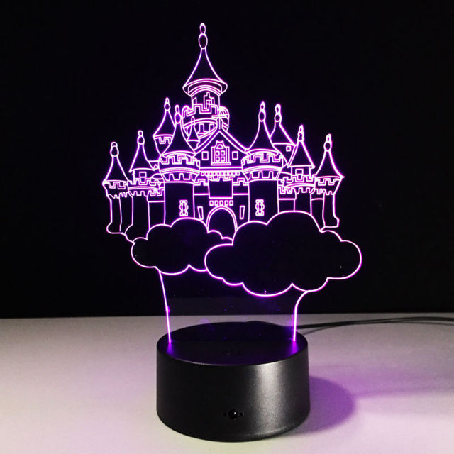 Moving Oude Kasteel 3D LED Lamp 7 Kleuren Veranderen Acryl Magic ...
