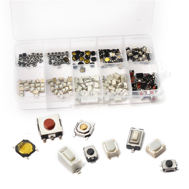 200PCS Tact Tactile Push Button Switch SMD Kit Car Remote Control Tablet Micro Switch Key Touch Tactile Push Button with Box