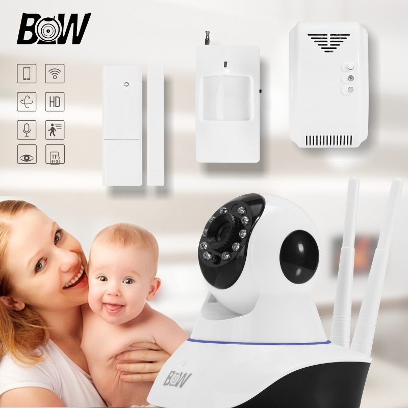 HD 720P Wireless IP Camera + Door & Infrared Motion Sensor + Gas Detector Wifi Video Surveillance Security CCTV P/T Baby Monitor bw p2p cctv ip camera wifi wireless hd 720p onvif rotatable surveillance security camera cctv automatic sensor detector alarm