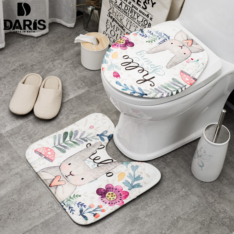 sdarisb 2 stcke set cartoon nette toilette bad matte kaninchen tier muster bad set matte wildleder anti slip wc abdeckung bad sets - Bad Muster