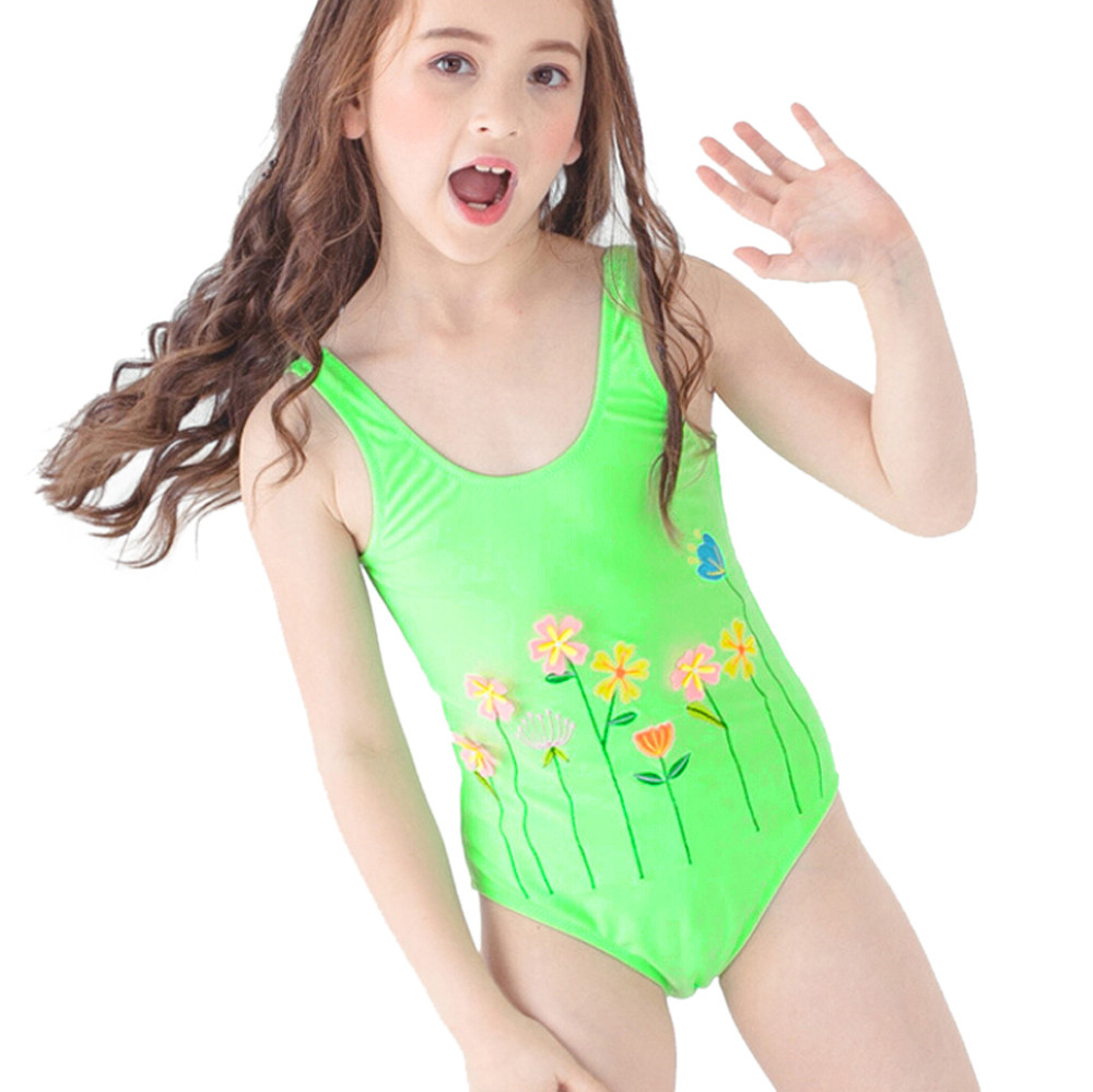 Summer Children Kids Baby Girls Swimwear One-piece Print Bikini Sleeveless  Infant Girls Biquin Beach Swimsuit Swimming Wear JU1 ba3a3e5eb503