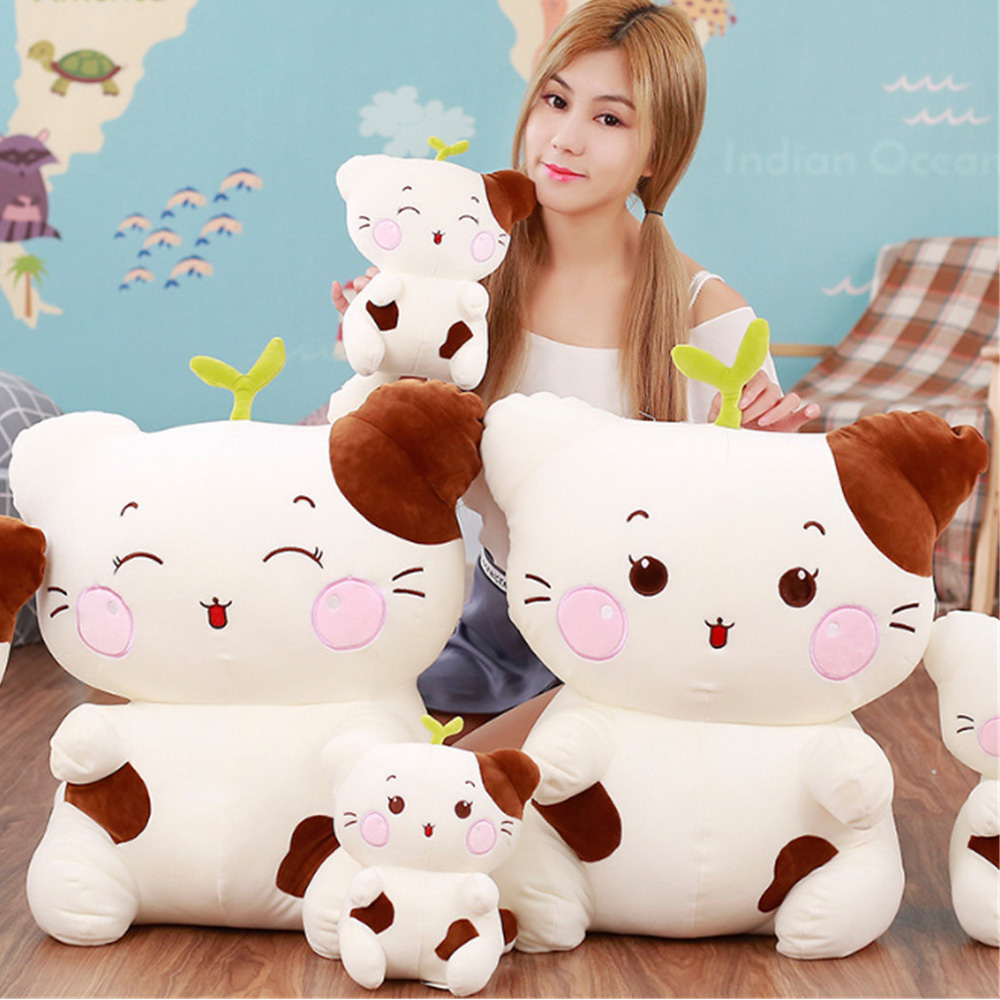 Fancytrader Lovely Anime Cat Stuffed Plush Toys Big Soft Cartoon Animals White Cats Pillow Doll 60cm 24'' for Children fancytrader new style giant plush stuffed kids toys lovely rubber duck 39 100cm yellow rubber duck free shipping ft90122