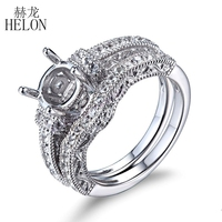 HELON Round 7mm Solid 10K White Gold Semi Mount White Sapphires Ring Engagement Wedding White Sapphires Band Main & Match Band