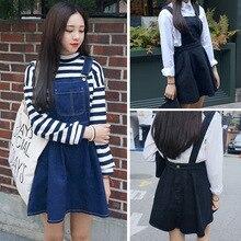 Fashion summer 2016 Womens Elegant strap Denim Dress sleeveless casual Overalls students dresses vestidos femininos WDR0107
