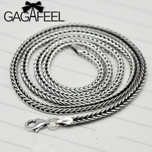 GAGAFEEL Vintage Necklace 925 Sterling Silver Jewelry Fashion Thai Silver Punk Men Snake Chains Necklaces For Pendants 2.8MM