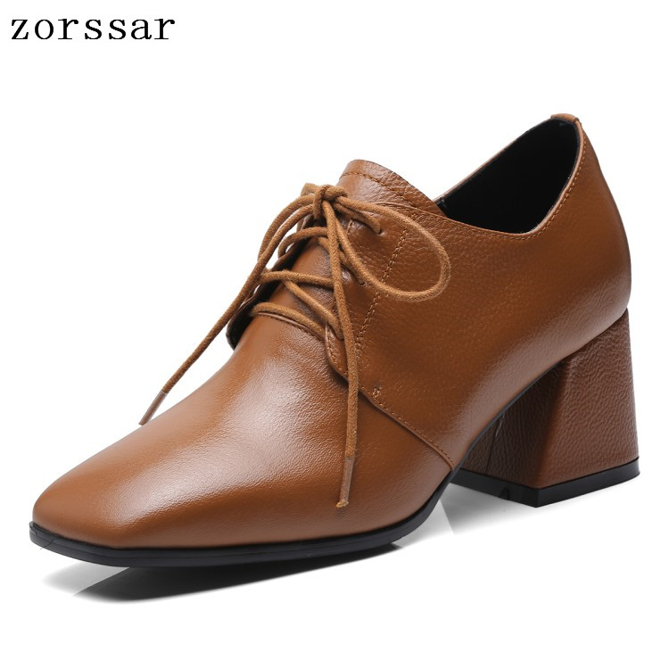 Zorssar 2019 New Women's Shoes Genuine Leather Lace-Up Shallow Square Toe High Heels Wedding Party Dress Shoes Plus Size 34-43