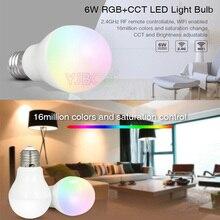 Miboxer  FUT014 6W E27 RGB+CCT led bulb lamp smart mobile phone APP WIFI AC85V 265V led light white warm Dimmable Lampada Light