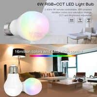 Milight FUT014 6 W E27 RGB + CCT led ampoule lampe téléphone mobile intelligent APP WIFI AC85V-265V lumière led blanc chaud Dimmable Lampada lumière