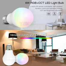 Milight FUT014 6W E27 RGB+CCT led bulb lamp smart mobile phone APP WIFI AC85V-265V led light white warm Dimmable Lampada Light milight ac86 265v 4w gu10 rgb cct led dimmable 2 4g wireless milight led bulb led spotlight smart led lamp lighting
