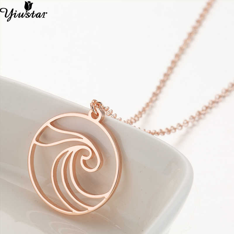 Yiustar Stainless Steel Pendant Sea Wave for Women Beach Surfer Jewelry Ocean Wave Necklace Charm Round Choker Necklaces Collar